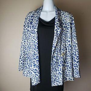 Anthropologie Cartonnier Blue Leopard Blazer xxsp